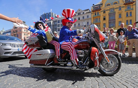 Some of the thousands of Harley-Davidson riders enter Wenceslas Square in the heart of Prague, Czech Republic.