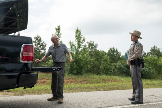 "Clint Eastwood (left, with Alan Heckner) plays a man who, to make end meet, takes a job as a driver that turns into something very different in ""The Mule."""