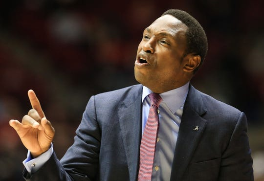 Dec 9, 2018; Tuscaloosa, AL, USA; Alabama Crimson Tide head coach Avery Johnson reacts during the first half against the Arizona Wildcats at Coleman Coliseum. Mandatory Credit: Marvin Gentry-USA TODAY Sports