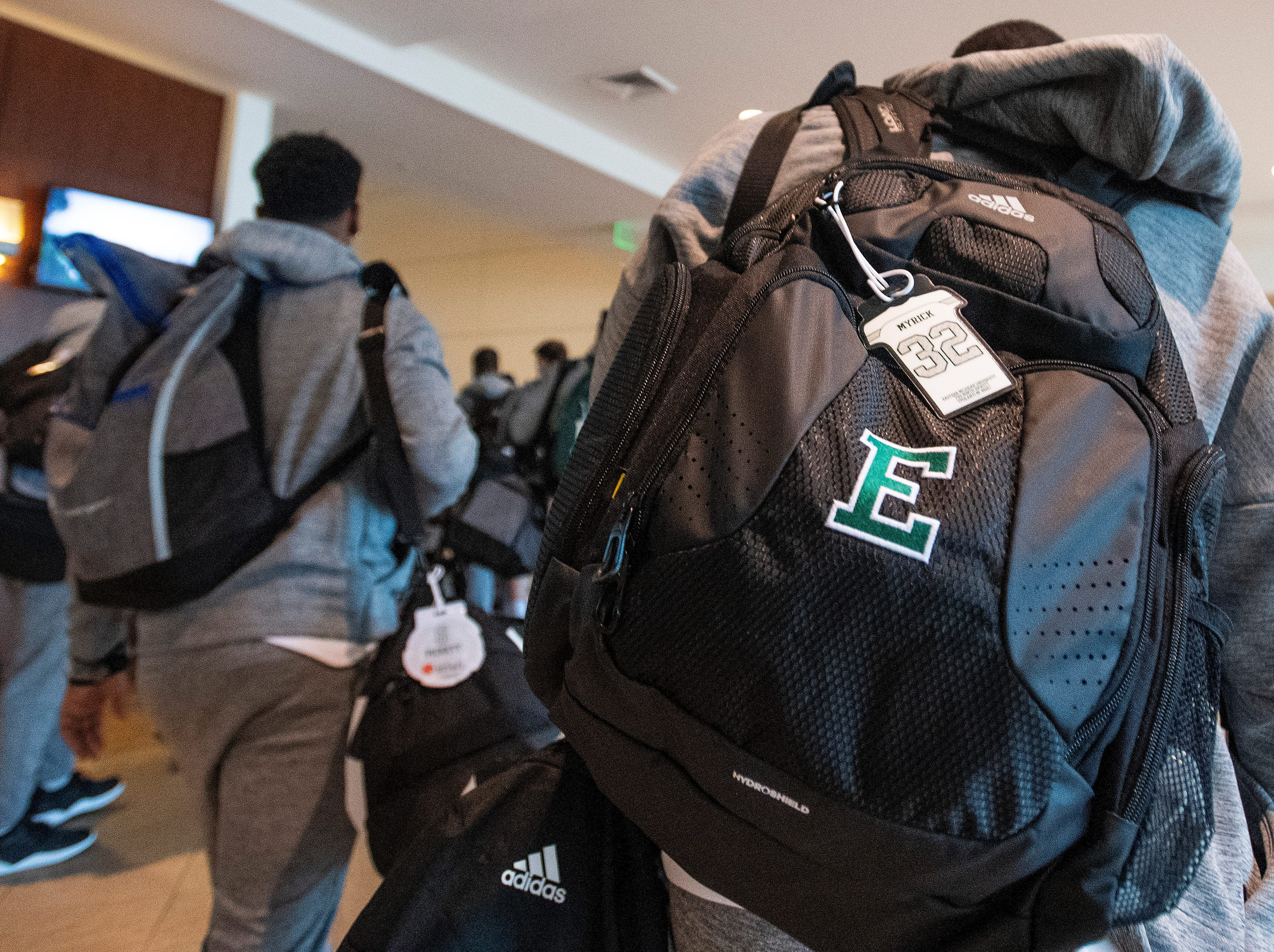 Eastern Michigan arrives at their team hotel as the teams arrive in Montgomery, Ala., on Tuesday December 11, 2018 for the Camellia Bowl to be played Saturday.