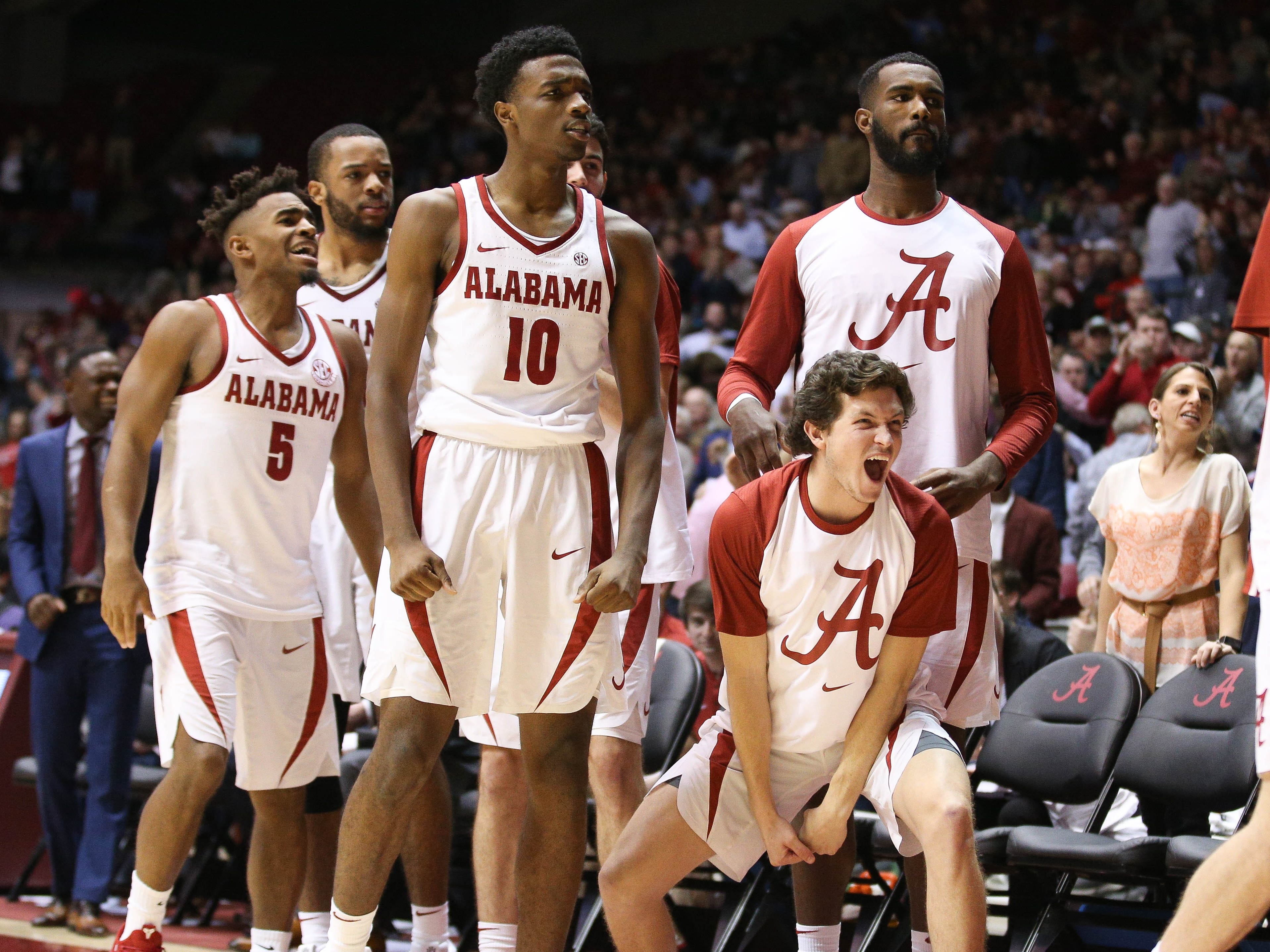 Dec 9, 2018; Tuscaloosa, AL, USA; Alabama Crimson Tide guard Lawson Schaffer (24) reacts from the bench after a play against Arizona Wildcats during the second half at Coleman Coliseum. Mandatory Credit: Marvin Gentry-USA TODAY Sports