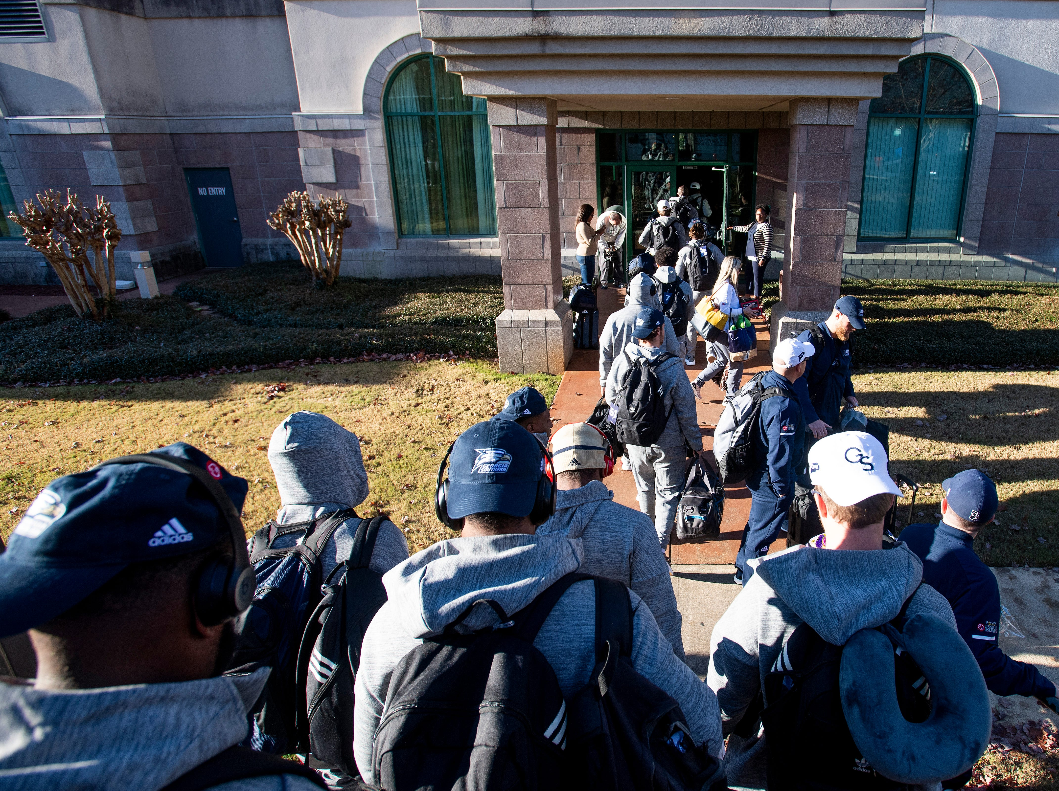 Georgia Southern arrives at their team hotel as the teams arrive in Montgomery, Ala., on Tuesday December 11, 2018 for the Camellia Bowl to be played Saturday.