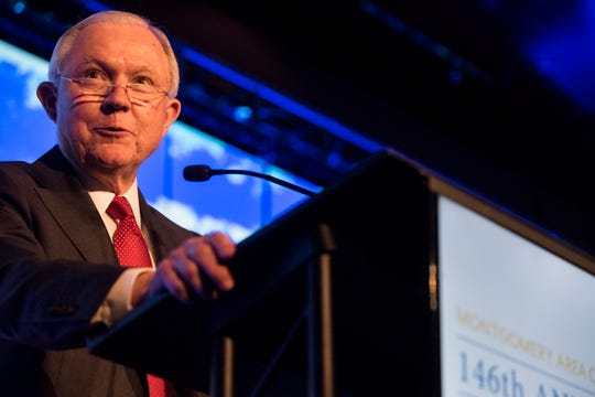 Former U.S. Attorney General Jeff Sessions speaks during the Montgomery Area Chamber of Commerce annual meeting in Montgomery, Ala., on Tuesday, Dec. 11, 2018.