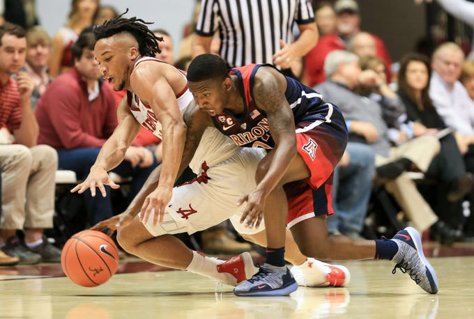 Dec 9, 2018; Tuscaloosa, AL, USA; Alabama Crimson Tide guard Dazon Ingram (left) and Arizona Wildcats guard Justin Coleman (right) pursue the ball during the first half at Coleman Coliseum. Mandatory Credit: Marvin Gentry-USA TODAY Sports