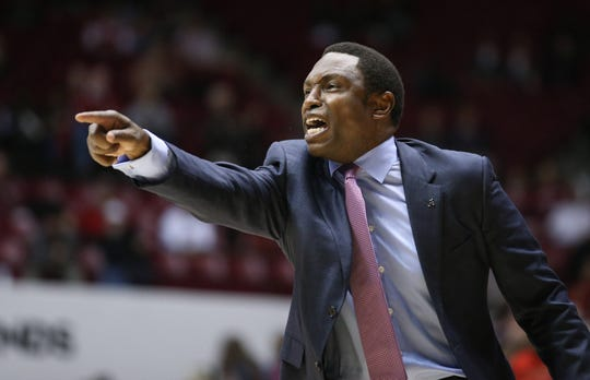 Dec 9, 2018; Tuscaloosa, AL, USA; Alabama Crimson Tide head coach Avery Johnson reacts during the second half against Arizona Wildcats at Coleman Coliseum. Mandatory Credit: Marvin Gentry-USA TODAY Sports