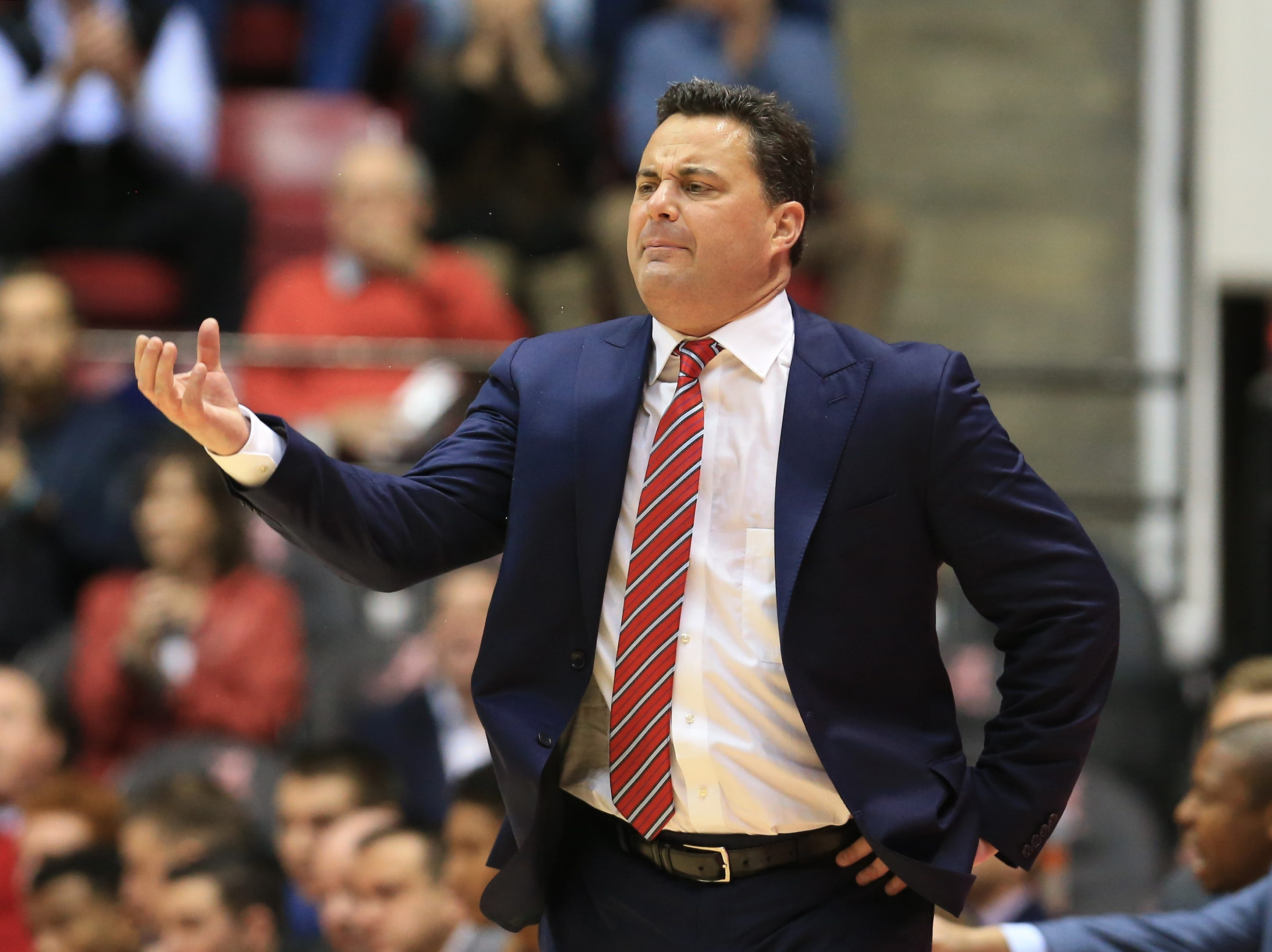 Dec 9, 2018; Tuscaloosa, AL, USA; Arizona Wildcats head coach Sean Miller reacts during the first half against the Alabama Crimson Tide at Coleman Coliseum. Mandatory Credit: Marvin Gentry-USA TODAY Sports