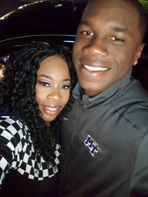 MTSU running back Chaton Mobley and his mother Chaka Murriel