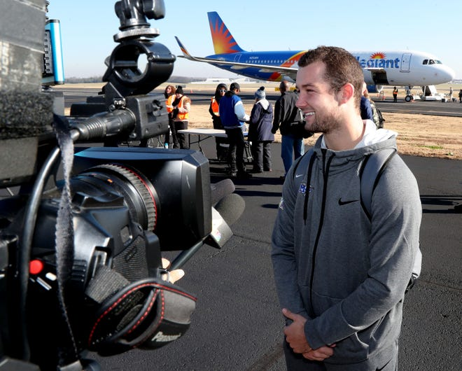 MTSU quarterback Brent Stockstill talks with the media at the Smyrna Airport to before he and the rest of the team head  to New Orleans on Tuesday, Dec. 11, 2018, to play in the New Orleans Bowl on Saturday.