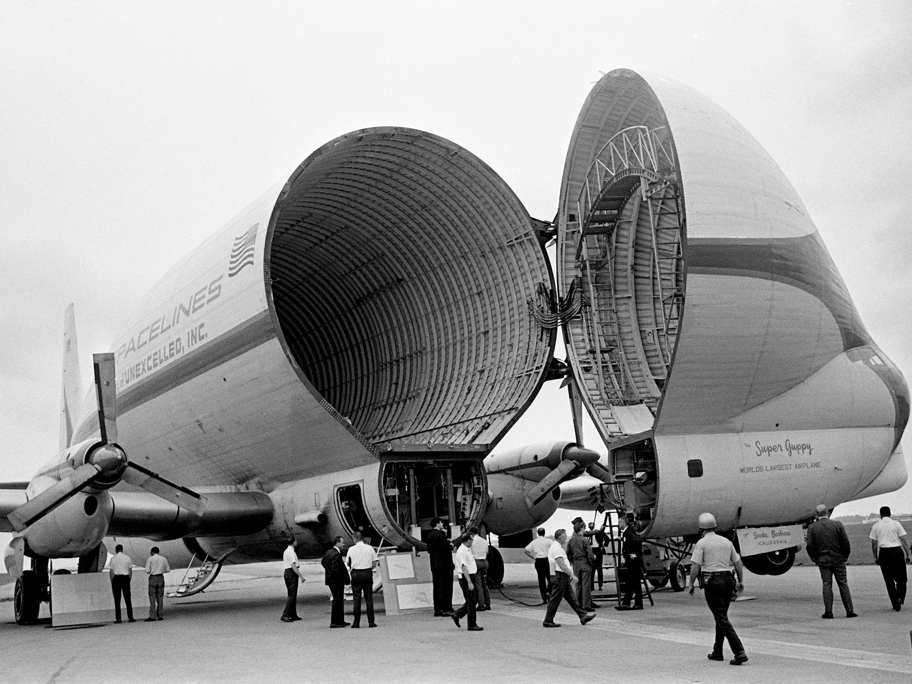 The Super Guppy, with its cavernous cargo compartment open, visits the Avco Aerostructures plant at Nashville Airport on Sept. 25, 1968. The plane was in town to convince Avco officials that it can do the job of transporting the wings of the giant Lockheed L1011 that they make to California for assembly.