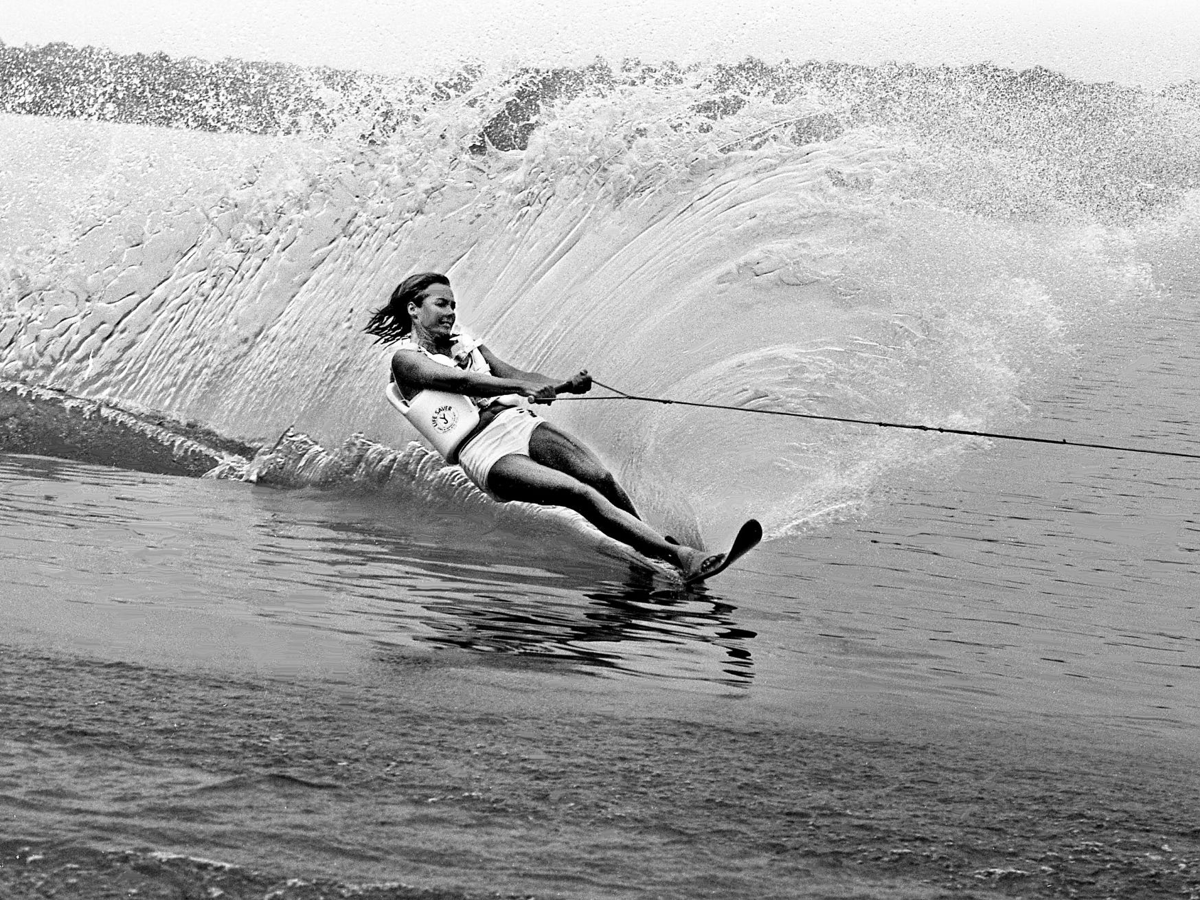 Jean Wilkes, a member of the host Nashville Ski Bees, gets in a few practice runs July 12, 1968, in preparation for the upcoming ninth annual Great Lakes of the South Open Ski tournament at Old Hickory Lake's Station Camp Creek.