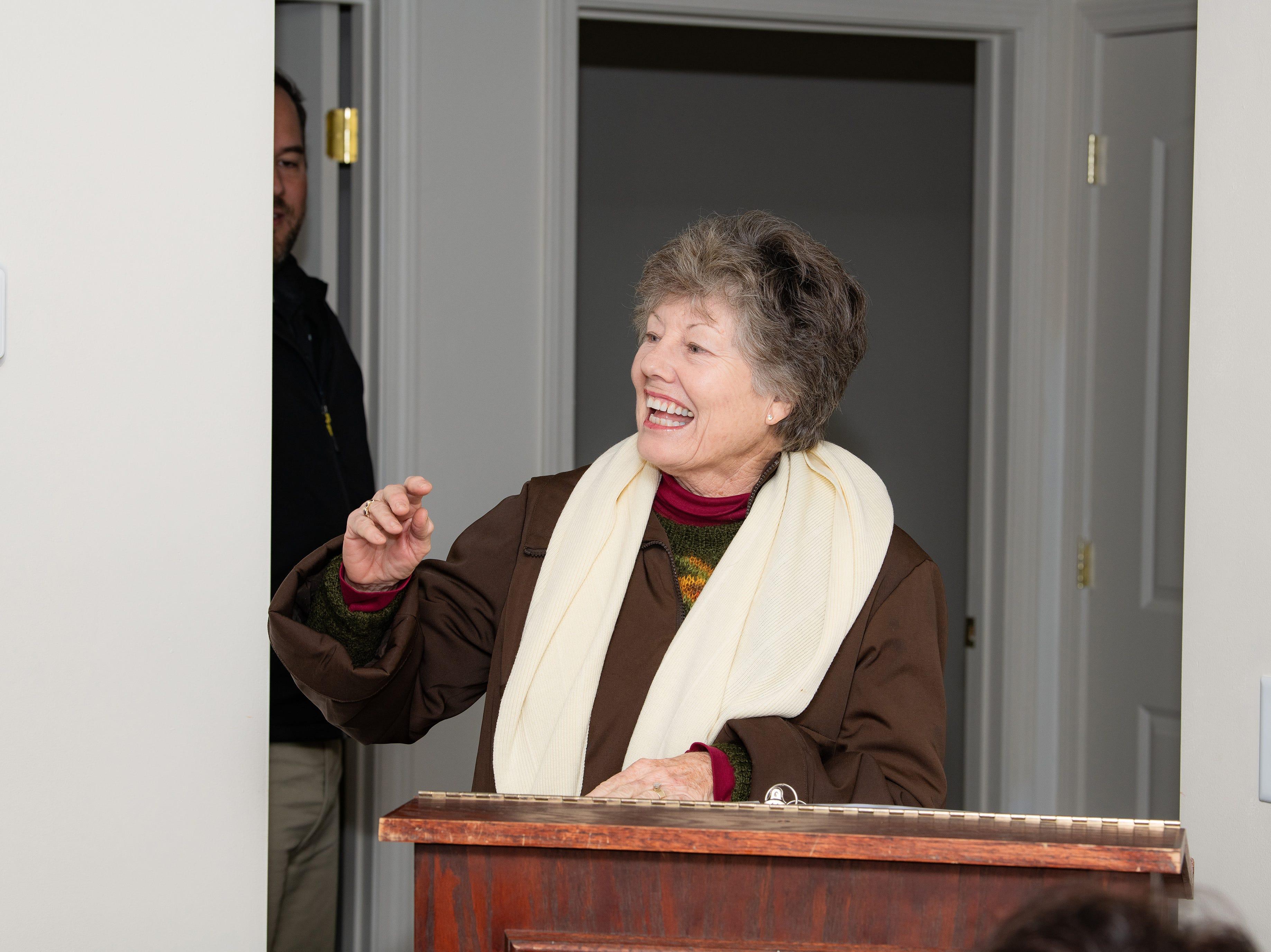 Martha Shepard at the Habitat Home ribbon cutting.