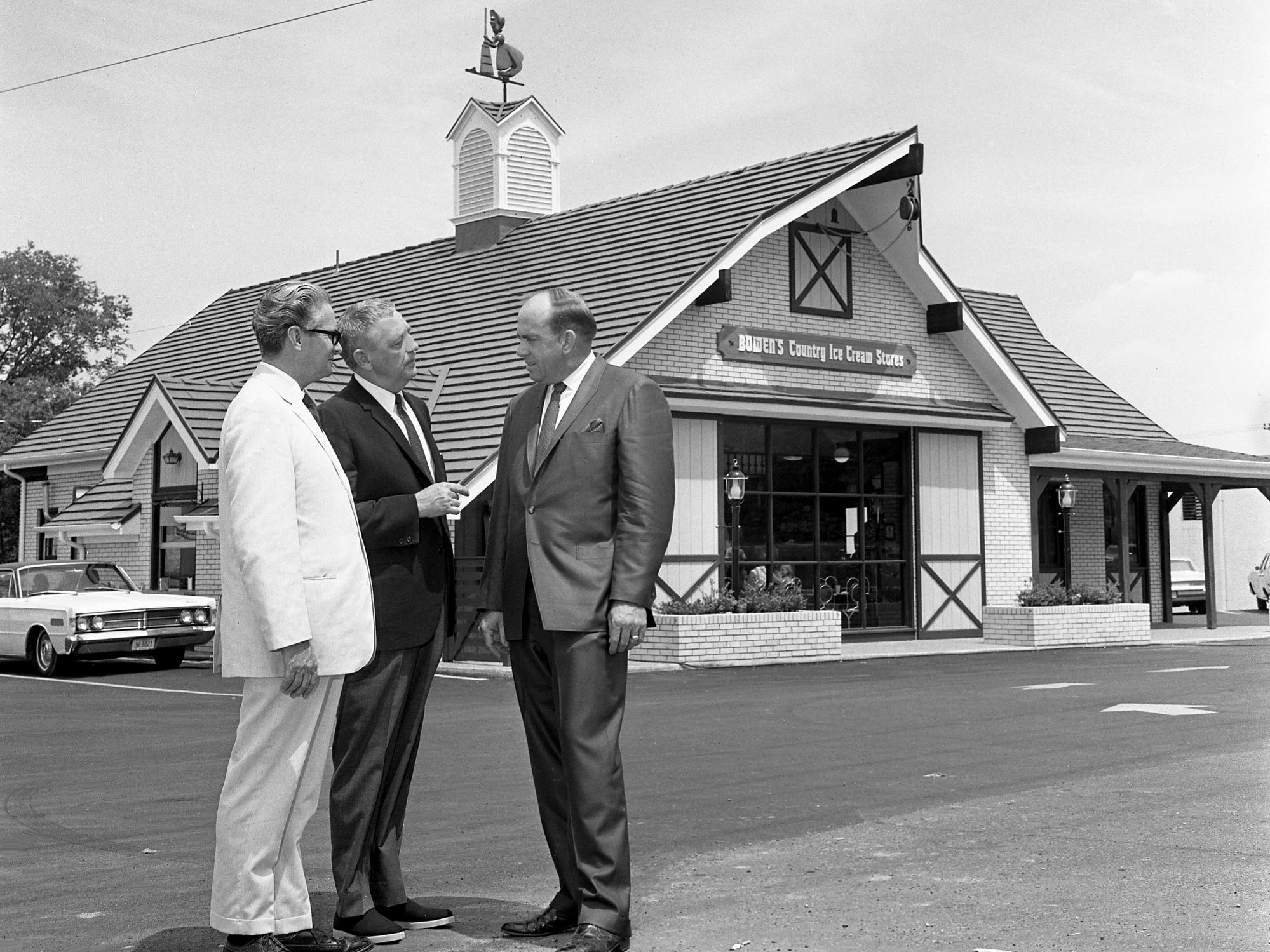 Robert Bowen, right, and business associates Joe Sutton, left, and Carl W. Little check out the first Bowen's County Ice Cream Stores, an old-fashioned ice cream parlor, on its grand opening June 20, 1968, at 3920 Nolensville Road.