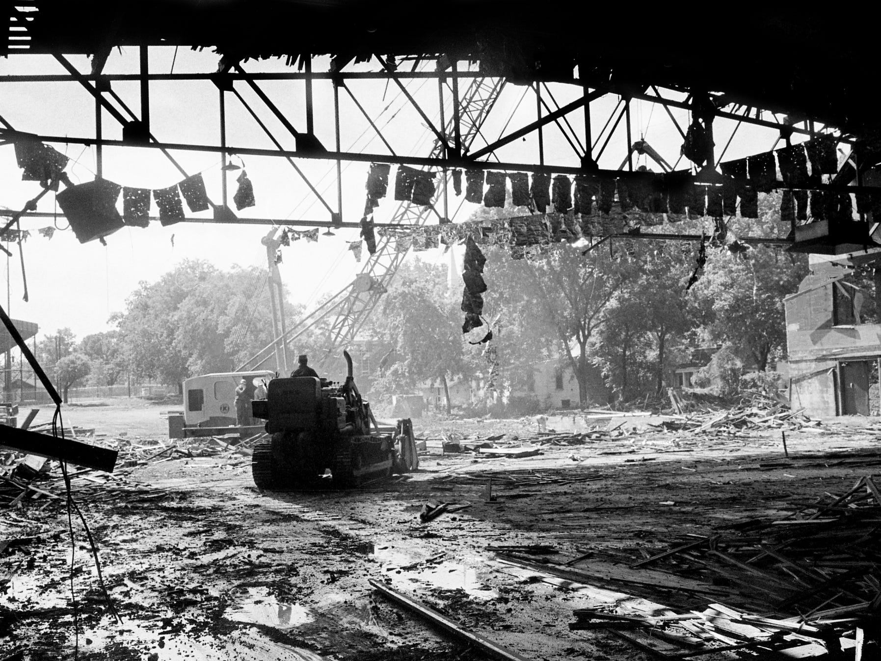 Bulldozers and cranes enter the back of the Hippodrome Arena, a landmark on West End Avenue in Nashville, on May 18, 1968. The Hippodrome is being torn down to make way for a new Holiday Inn to be built on the site near Centennial Park and the campus of Vanderbilt University.