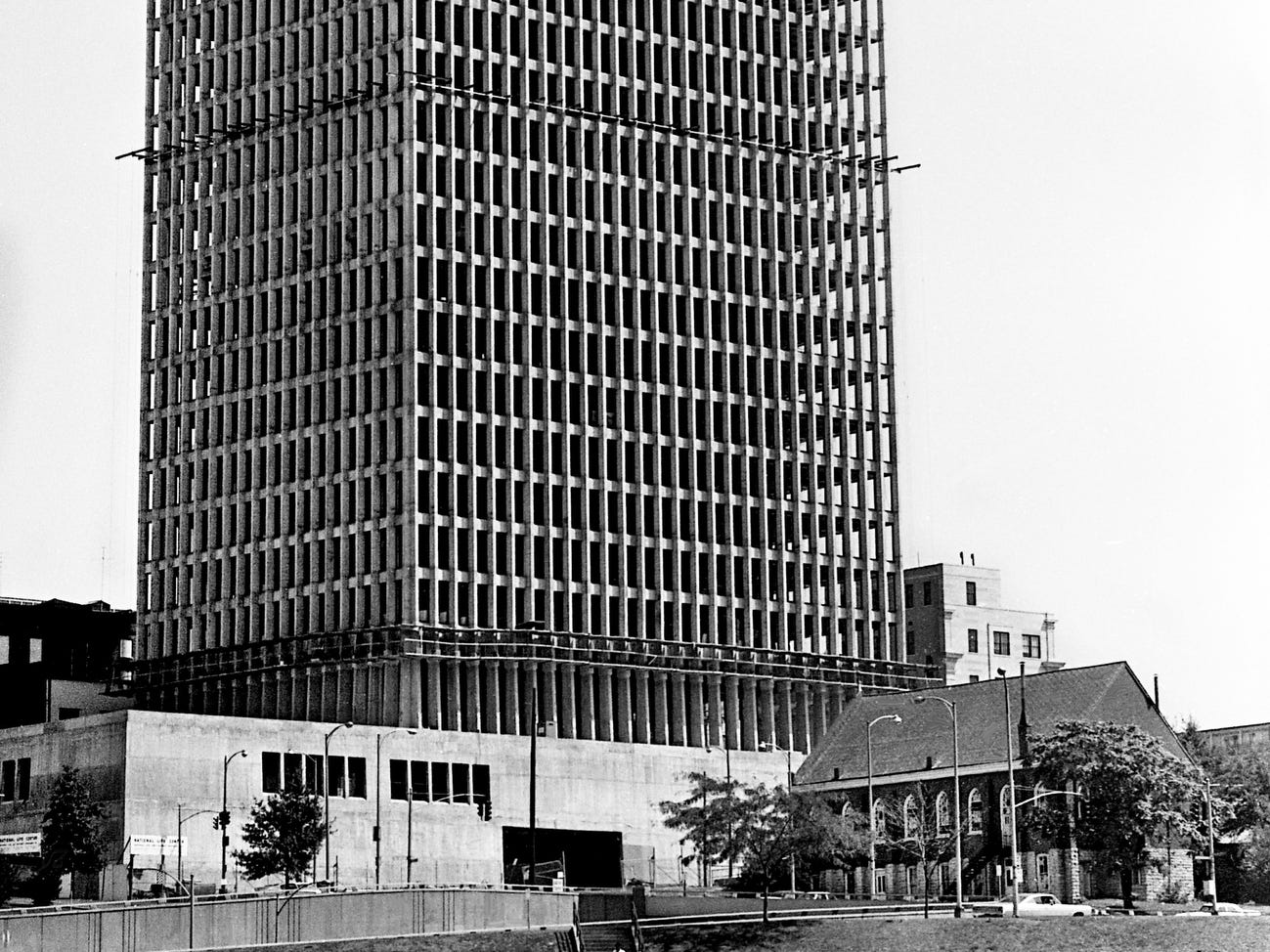 The new home office of the National Life & Accident Insurance Co., here Sept. 14, 1968, towers over the First Baptist Church, which had a big role in the civil rights movement in Nashville.