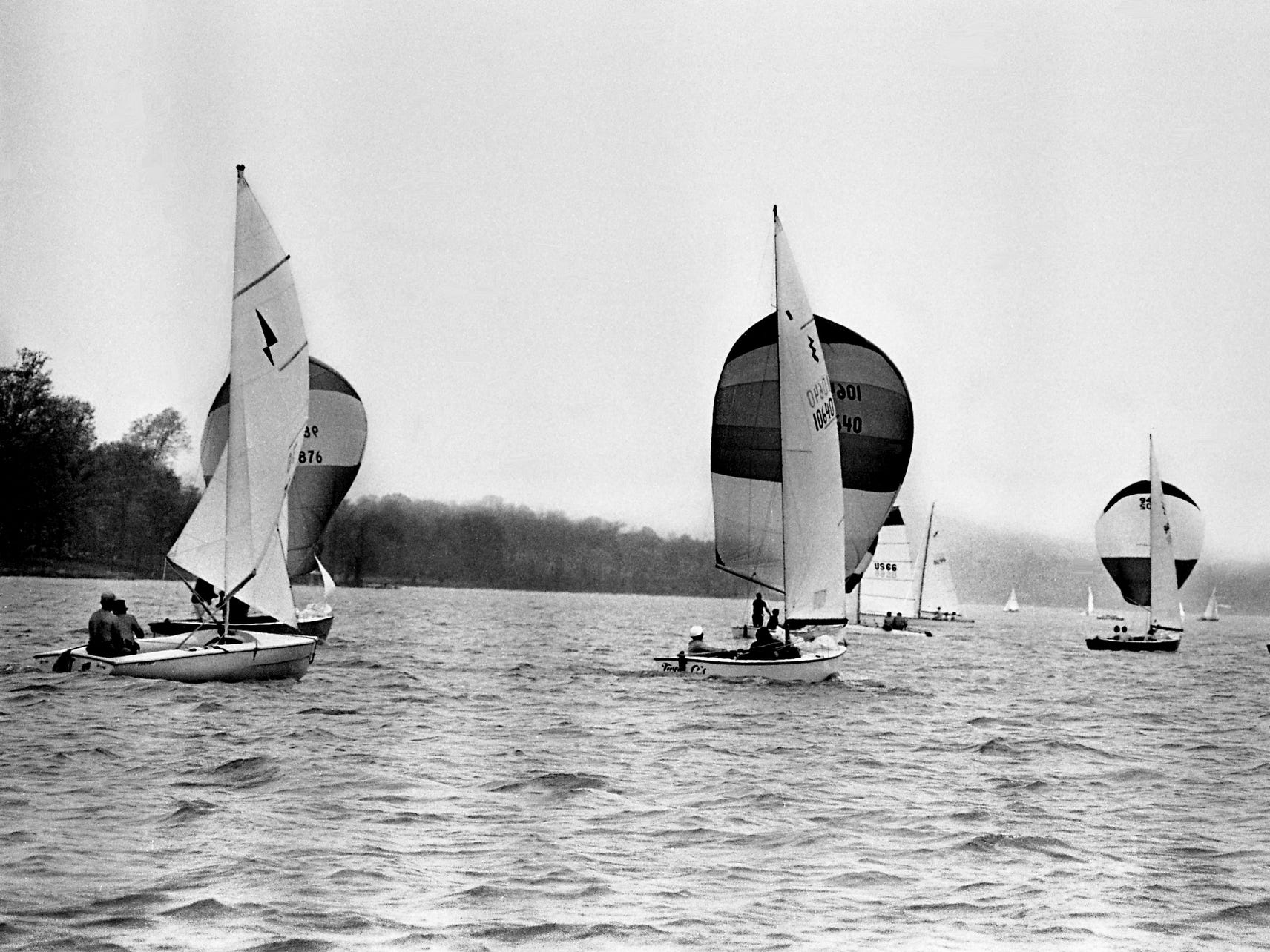 Boats of all shapes and sizes take to Old Hickory Lake on April 20, 1968, signaling the beginning of the 15th annual Tennessean Regatta.