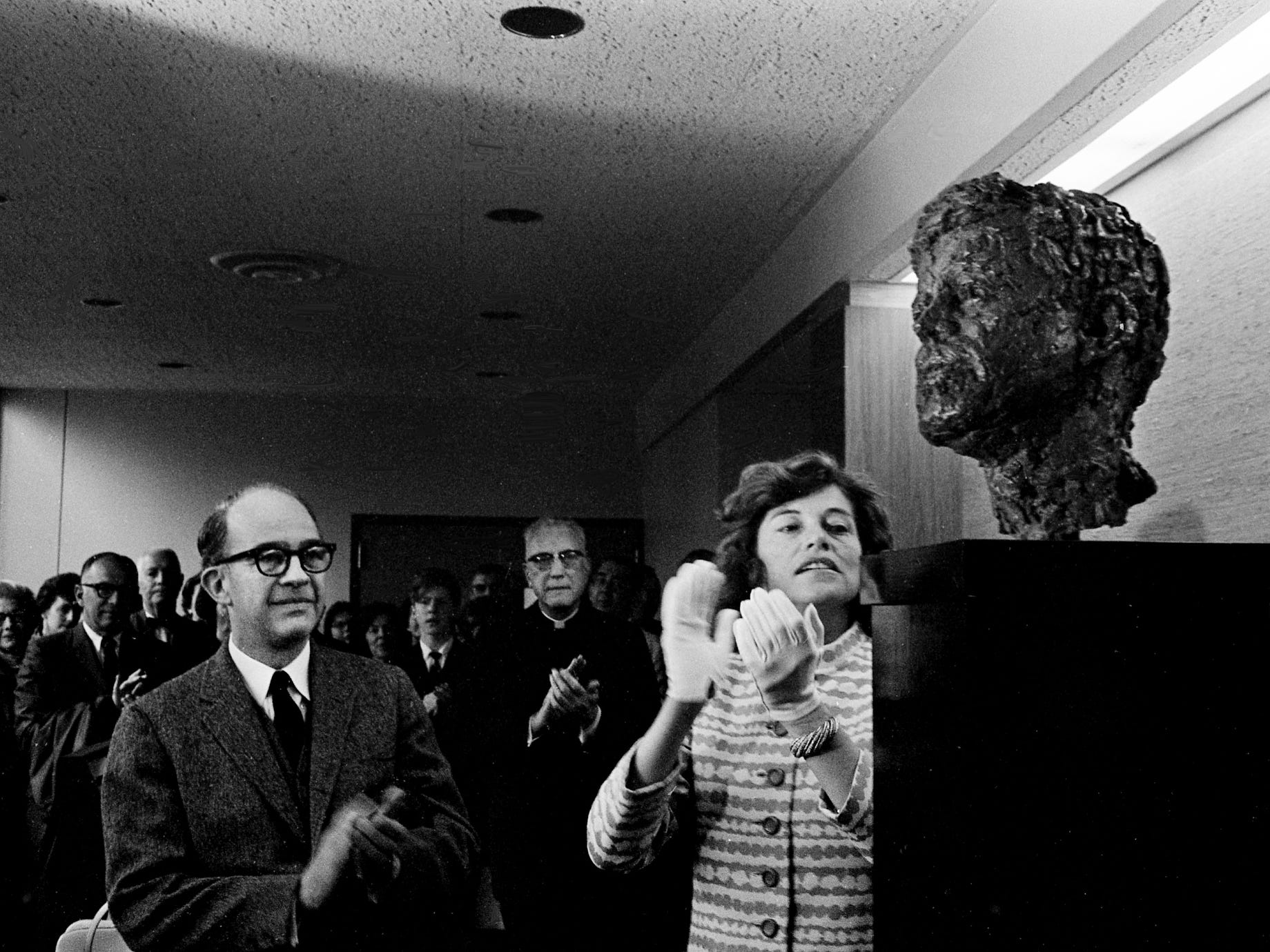 Eunice Shriver, right, admires the sculptured head of her late brother during the dedication of the John F. Kennedy Center for Research on Education and Human Development at Peabody College on March 31, 1968.