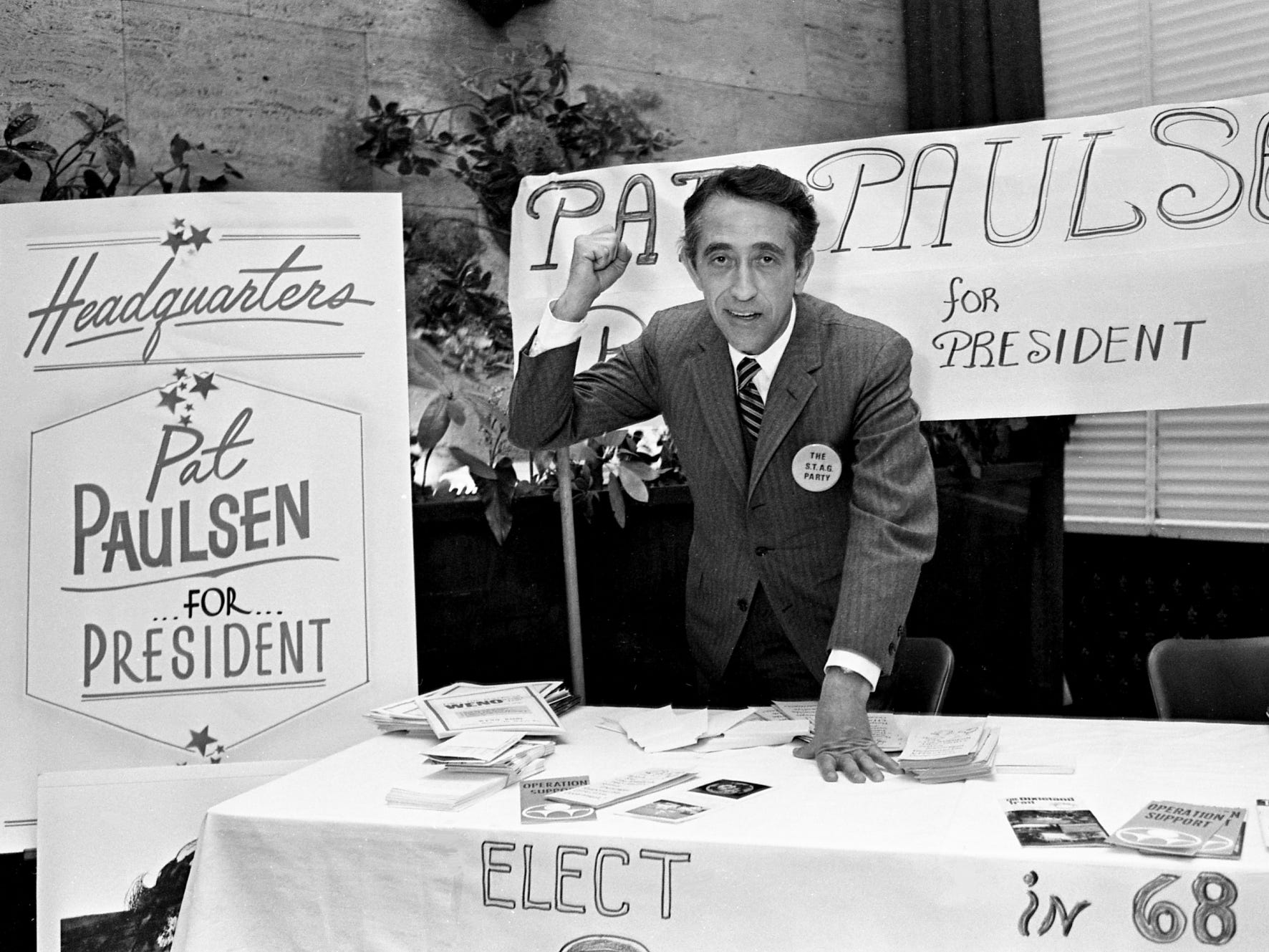 "Comedian Pat Paulsen, a regular on the Smothers Brothers TV show, shows off his ""Pat Paulsen for President"" headquarters in the Noel Hotel on March 14, 1968. Paulsen, who was making his first trip ever to Nashville, had a busy schedule of events as he campaigned for the local voters."