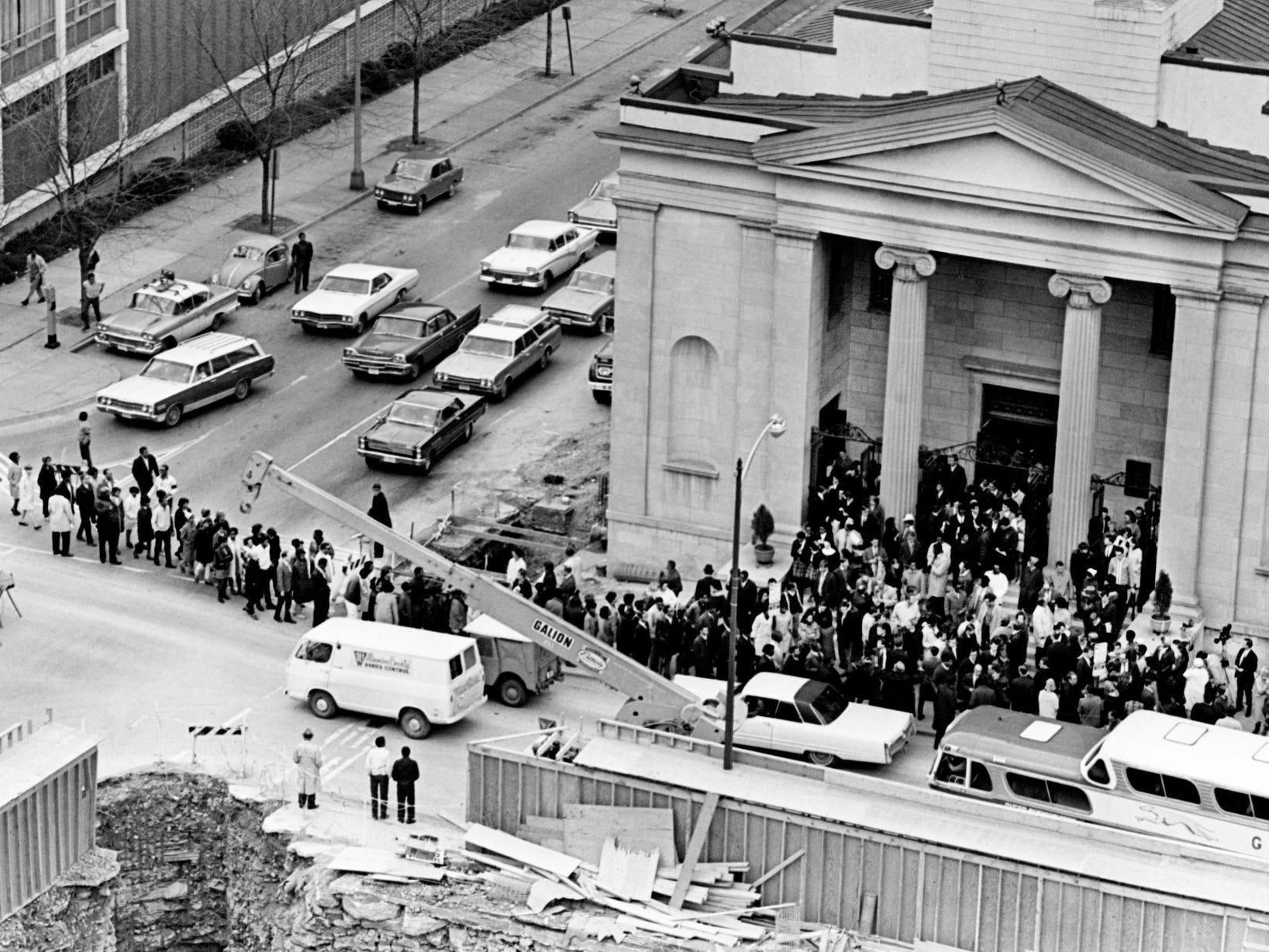 An interfaith service at St. Mary's Catholic Church in downtown Nashville drew hundreds, including Vanderbilt University students, for a memorial service for the Rev. Martin Luther King Jr. on April 5, 1968.