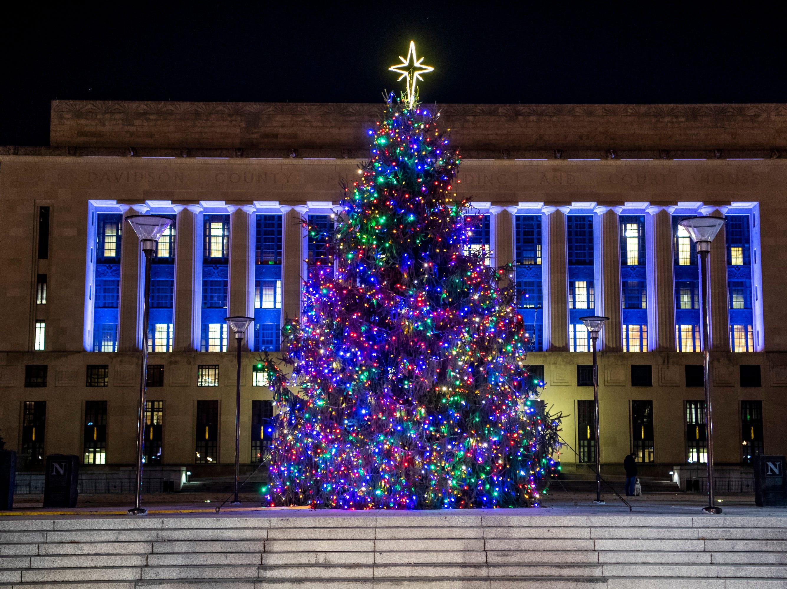 Christmas lights at Public Square Park in Nashville, Tenn., Monday, Dec. 10, 2018.