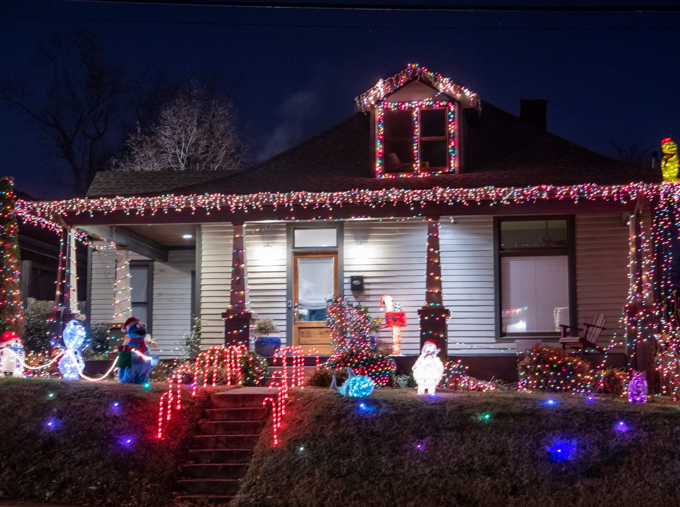 Christmas lights on Shelby Ave. in Nashville, Tenn., Monday, Dec. 10, 2018.