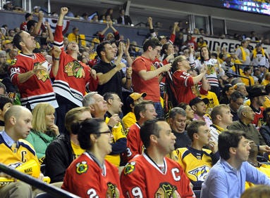 Blackhawks fans at the Bridgestone Arena in 2015 for a game against the Nashville Predators.