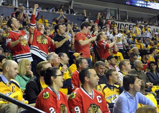 Blackhawks fans at the Bridgestone Arena in 2015 for a game against the Nashville Predators.