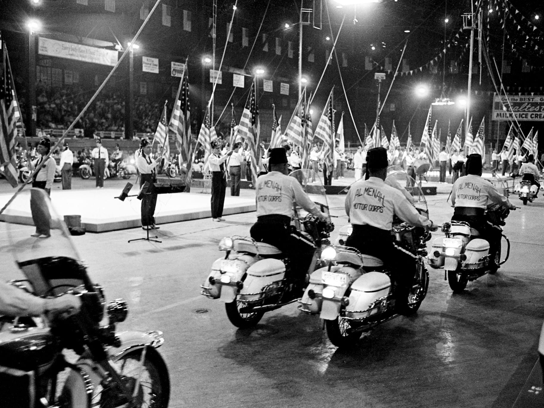 The 25th annual Al Menah Temple Shrine Circus opens at the Fairgrounds Coliseum on April 23, 1968, with the roar of the famed Al Menah Temple's nationally acclaimed motorcycle units.