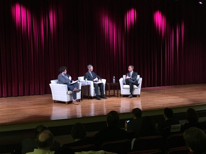 Tennessee Gov. Bill Haslam, right, joins The Tennessean's David Plazas, center, and Adam Tamburin, left, to discuss higher education on Monday, Dec. 10 at the Nashville Public Library.