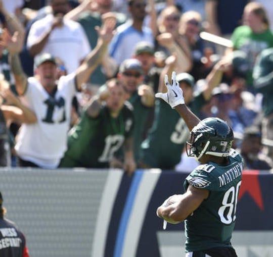 Eagles fans at Nissan Stadium cheer a Jordan Matthews touchdown when Philadelphia played the Tennessee Titans in Nashville on Sept. 30.
