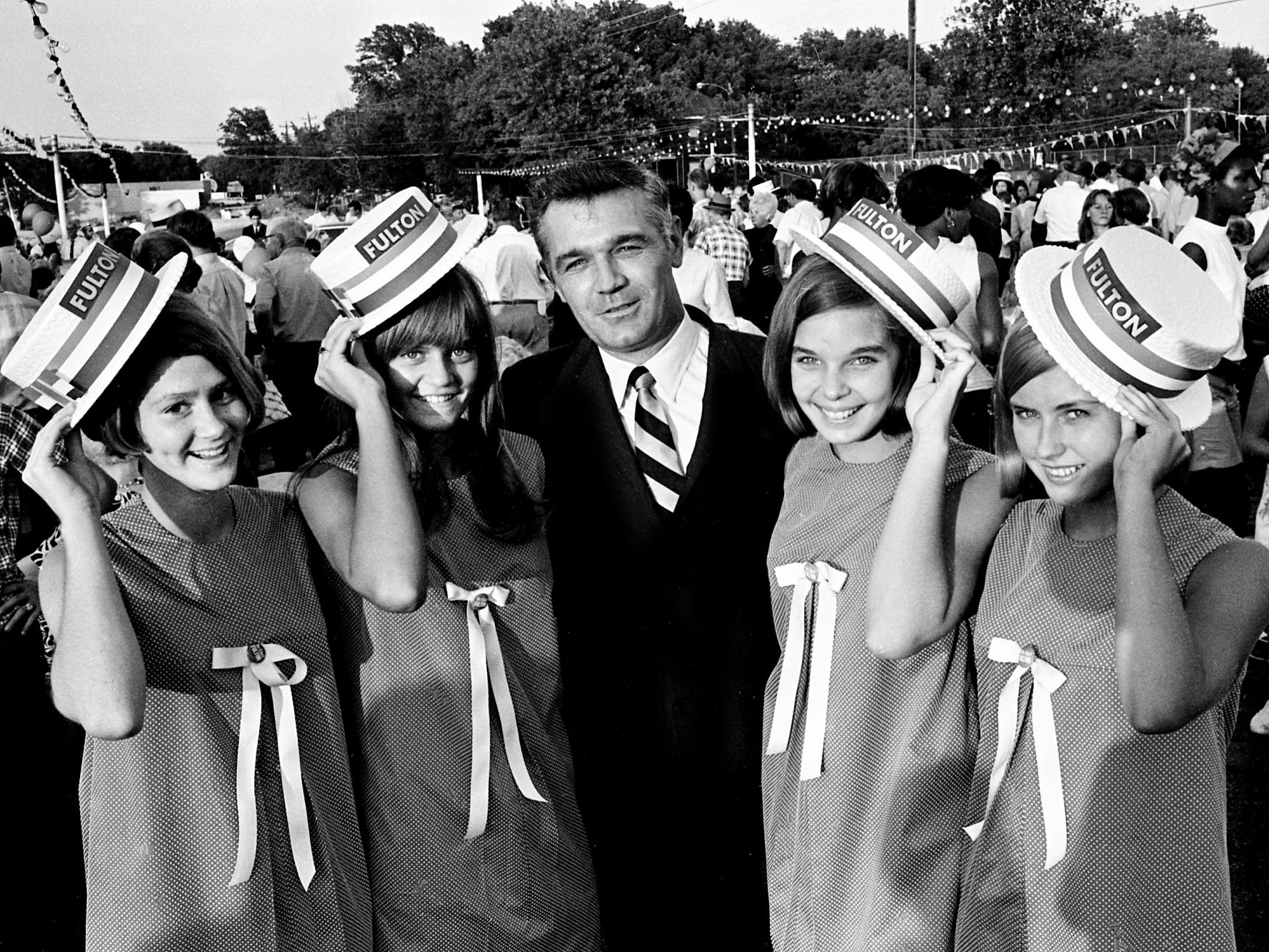 U.S. Rep. Richard Fulton talks with youthful supporters during a watermelon feast on Woodland Street on July 29, 1968. At Fulton's left is his daughter, Donna. Others are, from left, Beverly Kirkwood, Sherry Green and Janis Ball, all Stratford High students.