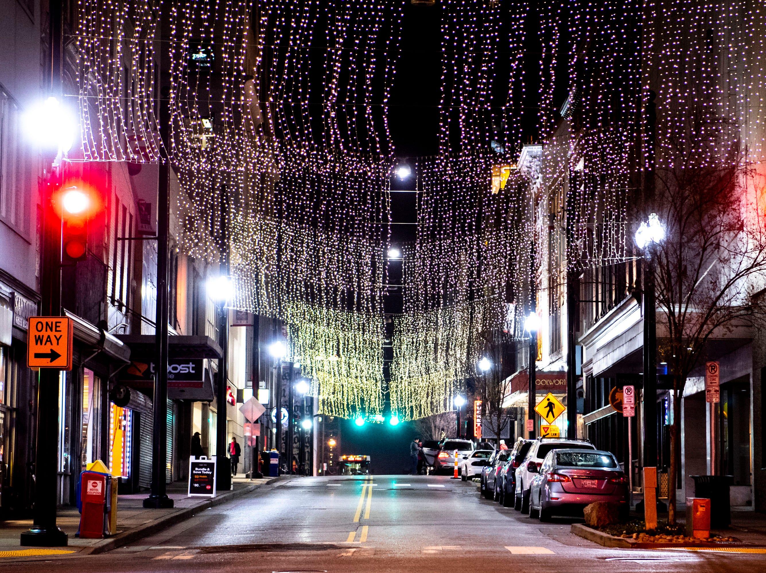 Christmas lights on 5th Ave. N in Nashville, Tenn., Monday, Dec. 10, 2018.