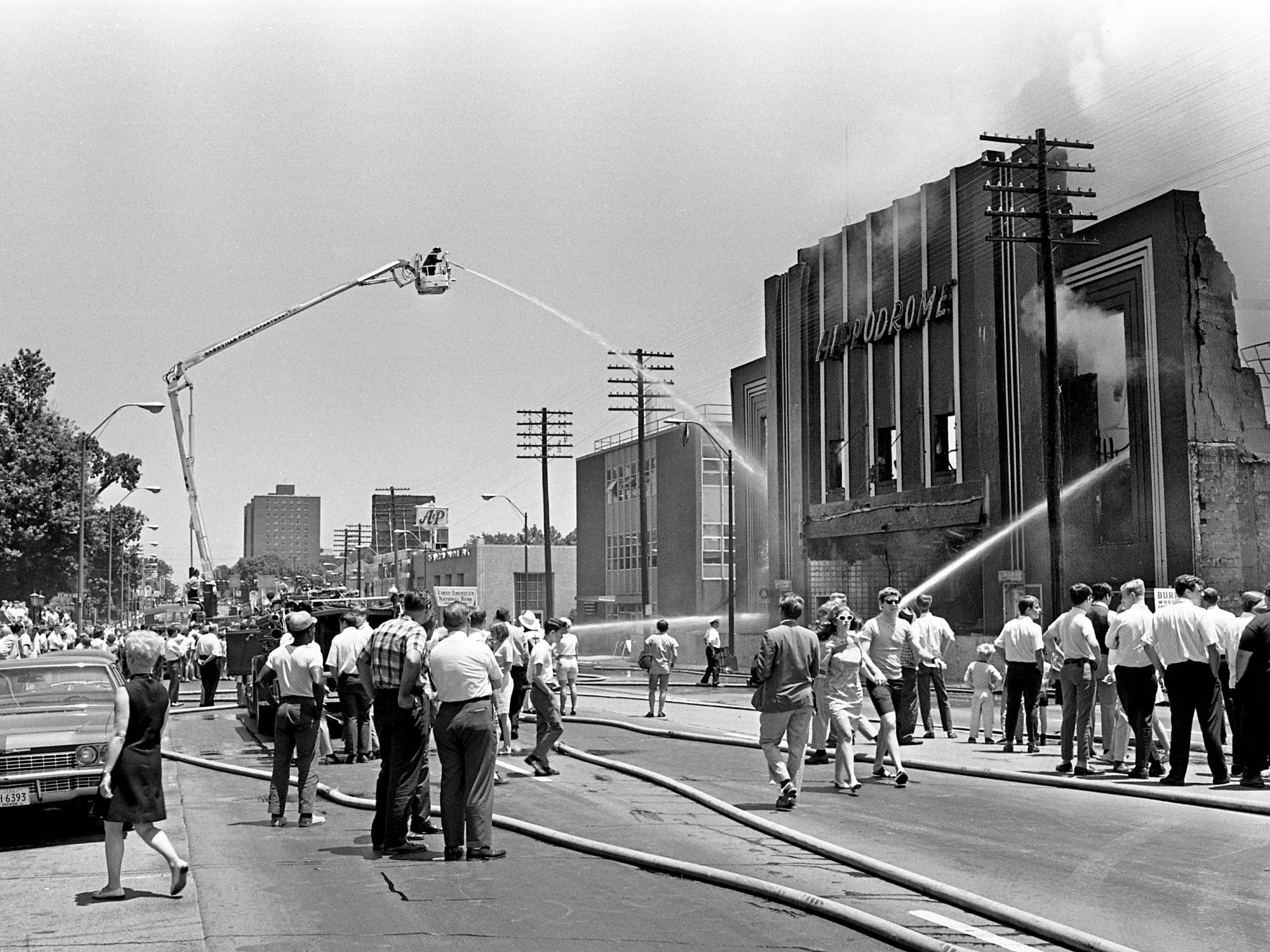 A brief but spectacular two-alarm fire accelerates the slow death of the Hippodrome at 2613 West End Ave. on June 13, 1968. Metro Fire Chief William McIntyre said the blaze was caused by sparks from acetylene torches used during the morning to cut steel roofing beams.