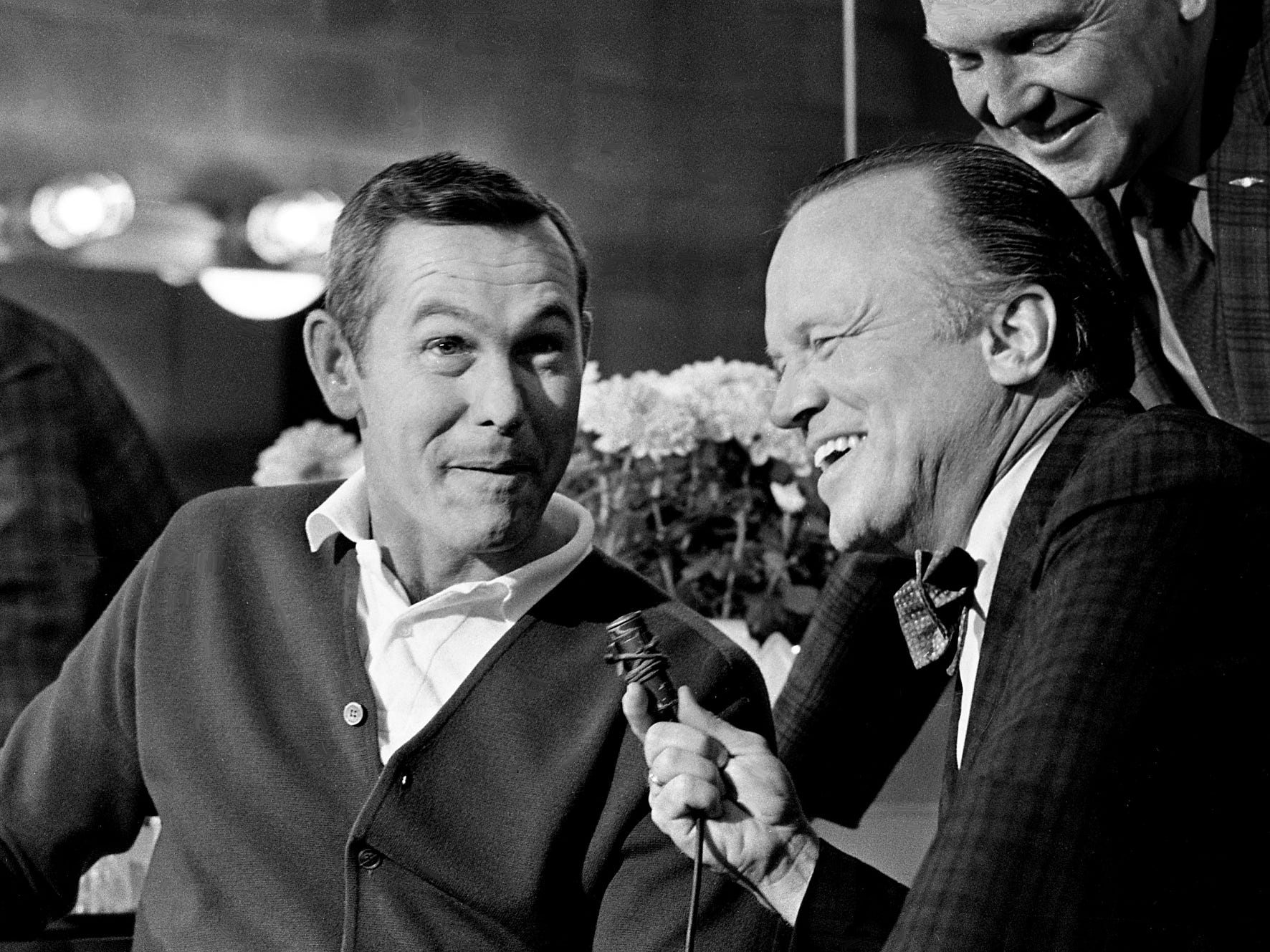 "Edward Shea, right, executive vice president of the Nashville Area Chamber of Commerce, interviews Johnny Carson of ""The Tonight Show"" for the local media after welcoming him to Music City on June 1, 1968. Carson was making his first trip to Nashville to perform in the 20th annual ""Furbelows and Fanfare"" to benefit the Florence Crittenton Home."