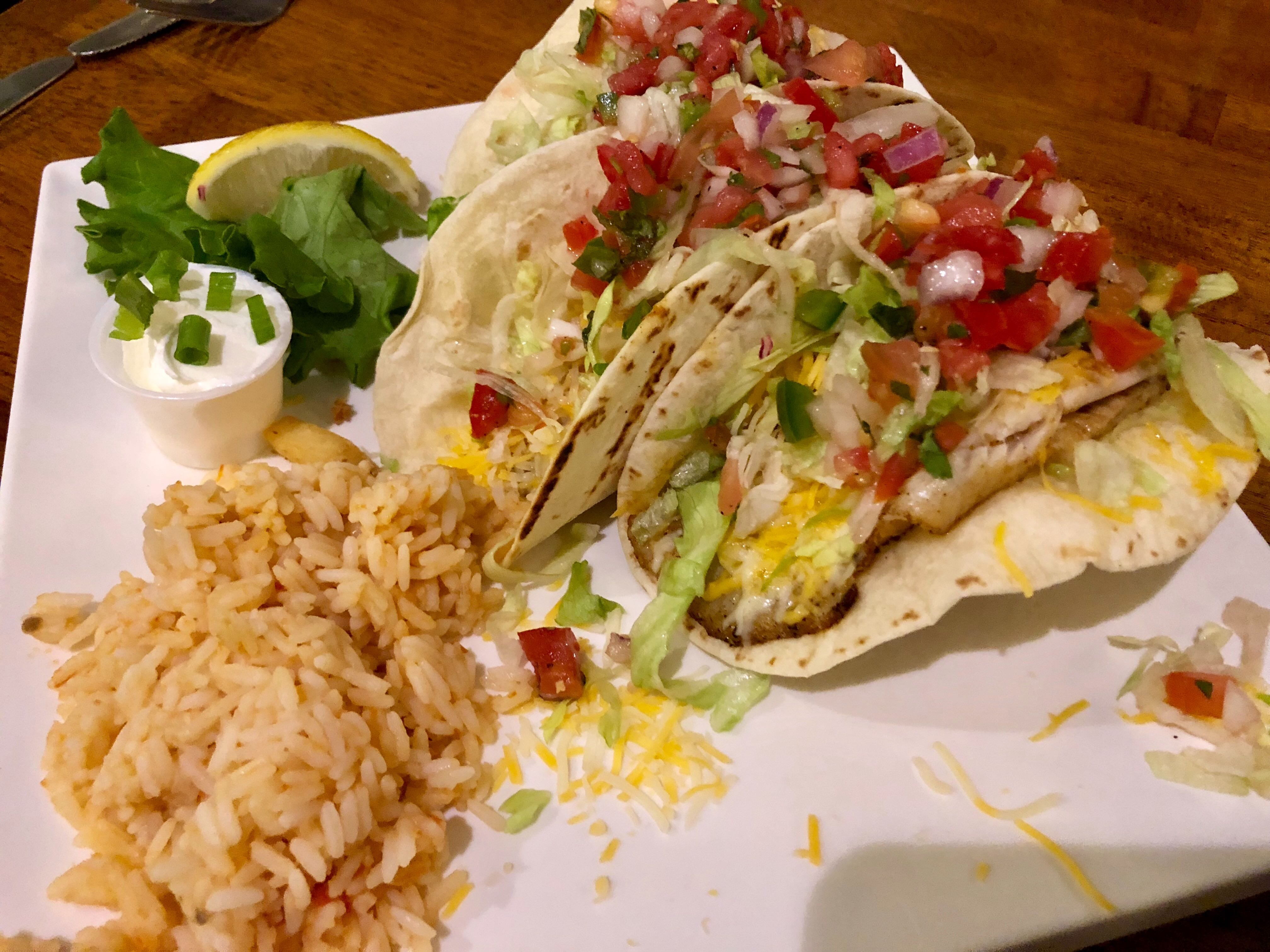 Blackened tilapia is the star of the fish tacos at  Alice Sweetwater's Bar & Grille in Naples.