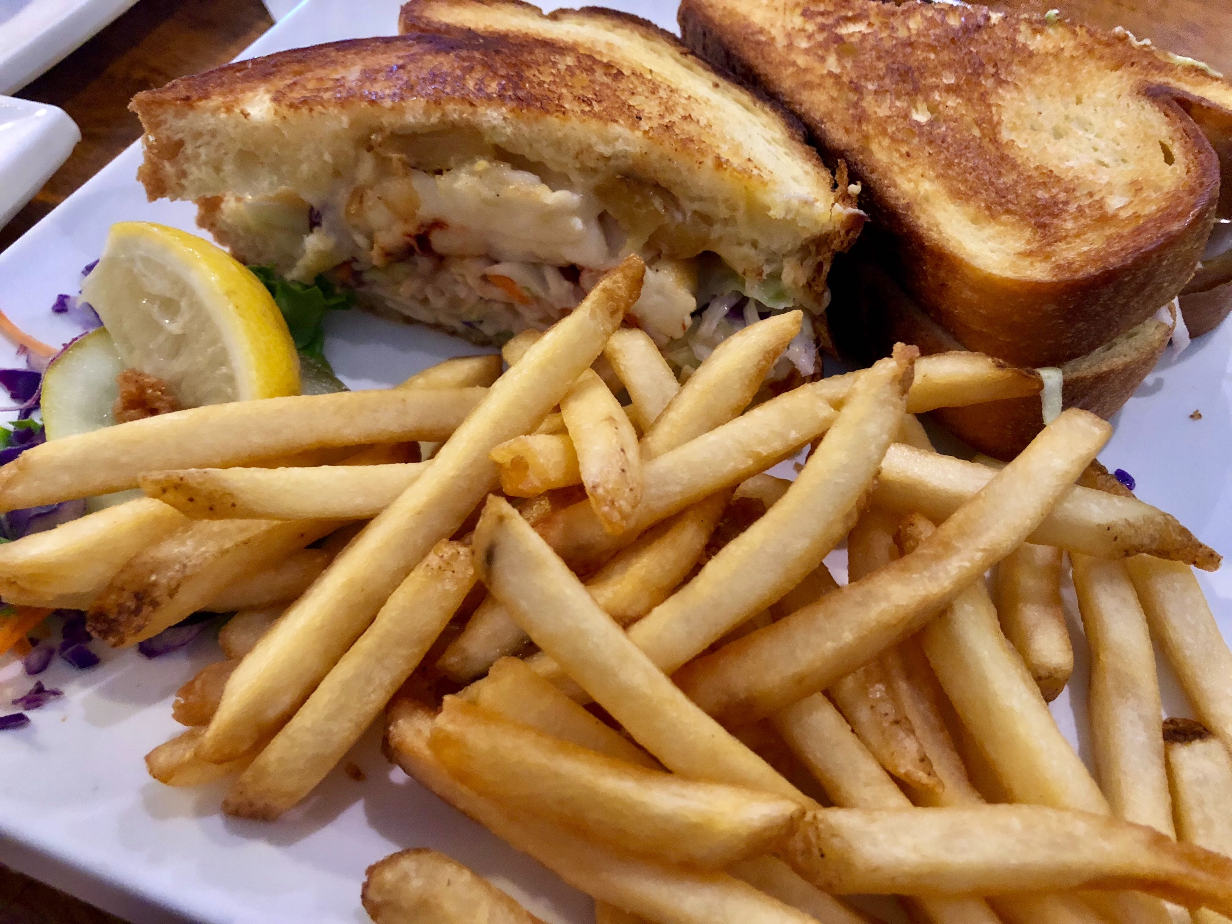 """""""The world's greatest sandwich,"""" a lobster Reuben, at  Alice Sweetwater's Bar & Grille in Naples."""
