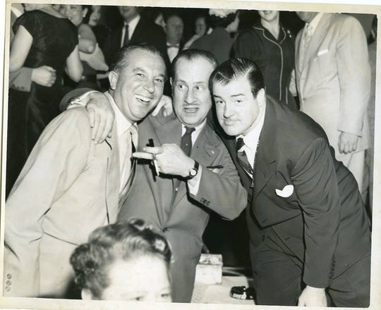 Riviera owner Bill Miller with Bud Abbott and Lou Costello, who also performed at the nightclub.