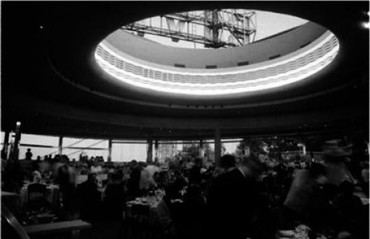 Interior of Riviera nightclub ballroom with skylight