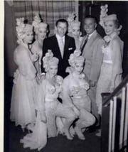 Frank Sinatra with showgirls from the Riviera nightclub in Fort Lee, N.J.