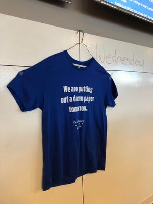 A T-Shirt commemorating the deaths of five members of the staff of the Annapolis, Maryland Capital-Gazette hangs in the newsroom at NorthJersey.com and The Record.
