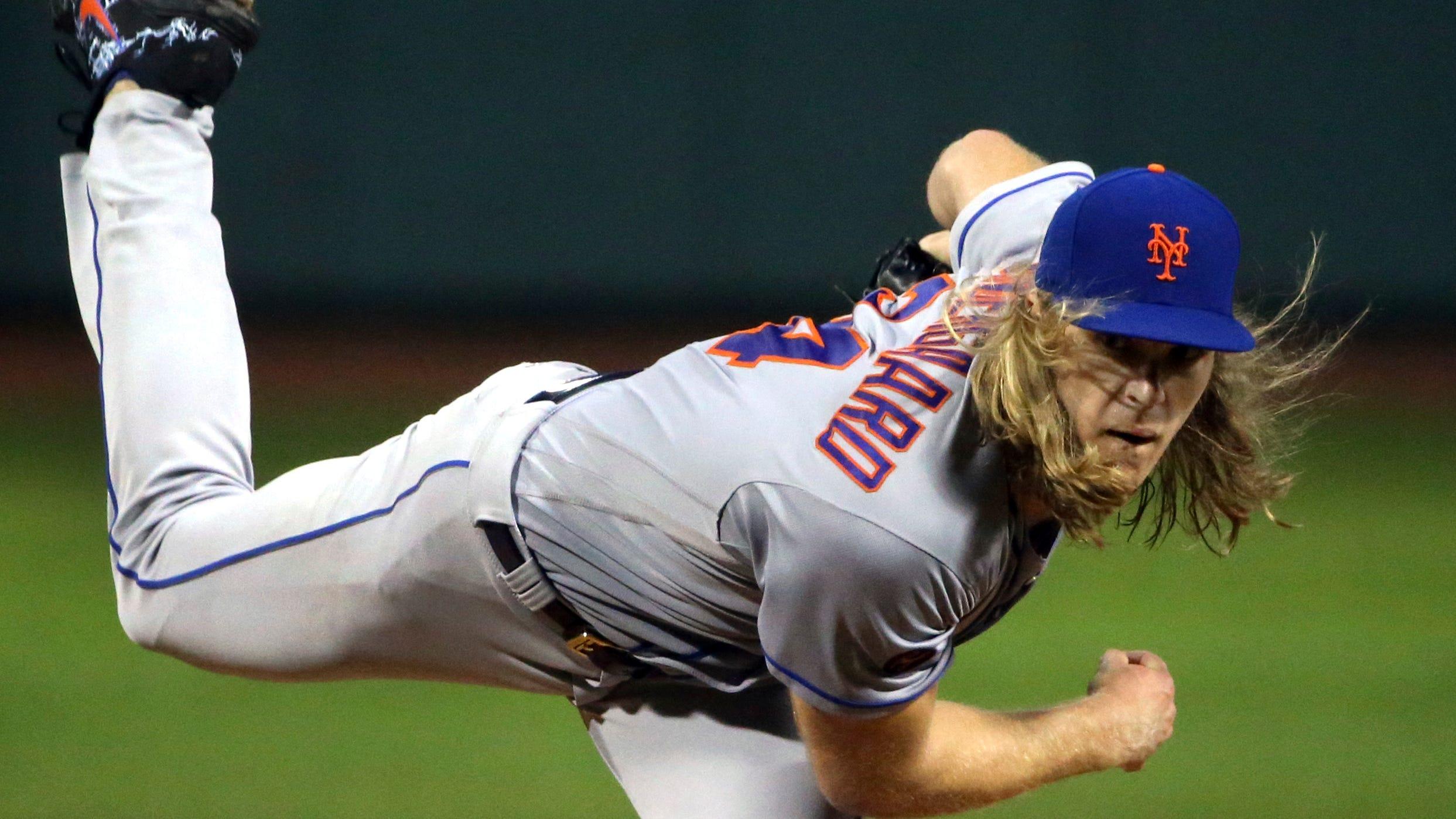 New York Mets starting pitcher Noah Syndergaard...