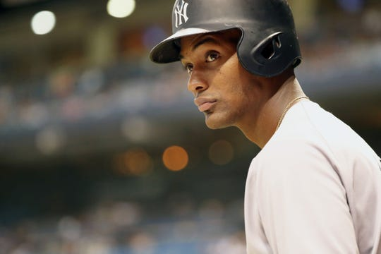 Sep 26, 2018; St. Petersburg, FL, USA; New York Yankees third baseman Miguel Andujar (41) stands on deck to bat during the third inning against the New York Yankees at Tropicana Field.