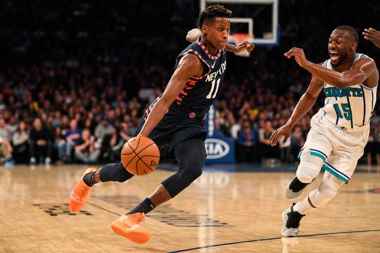 Frank Ntilikina scored 18 points in the New York Knicks' loss to the Charlotte Hornets Sunday at Madison Square Garden.