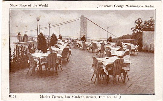 Outdoor lounge area of first Riviera atop Palisades then owned by Ben Marden and operated from 1931 through 1936 - newer Riviera built by MArden about a 1/4 mile south atop Fort Lee's Palisades was built after fire destroyed first Riv in Nov. 1936 - new one opened May of 1937 and was only closed following New Year's Eve 1953 then razed in 1954.