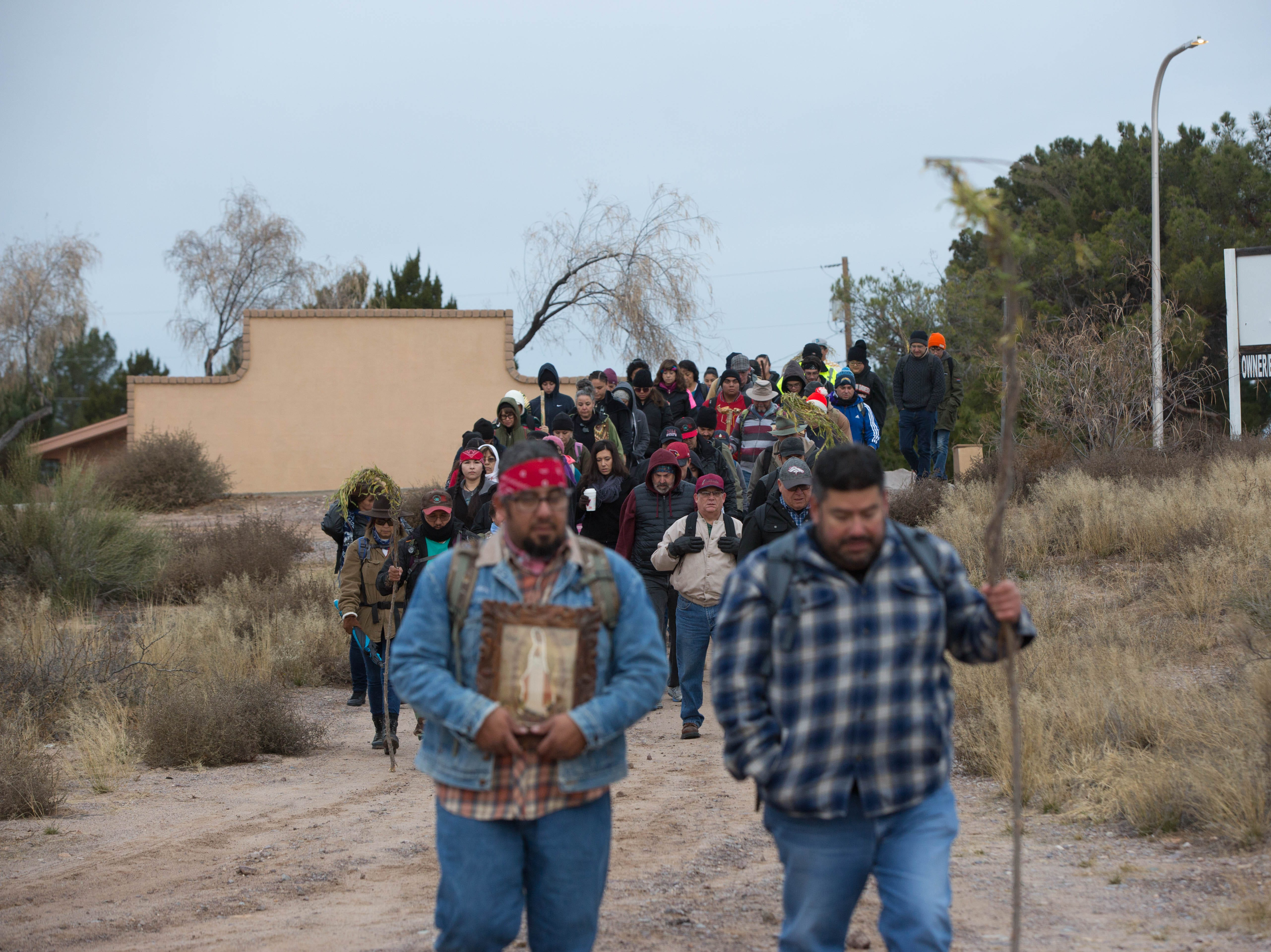 During the second day of the Fiesta of Our Lady of Guadalupe, a pilgrimage is made from the Tortugas Pueblo to Tortugas Mountain on Tuesday Dec.11, 2018. Pilgrims left from the pueblo at 7 a.m.