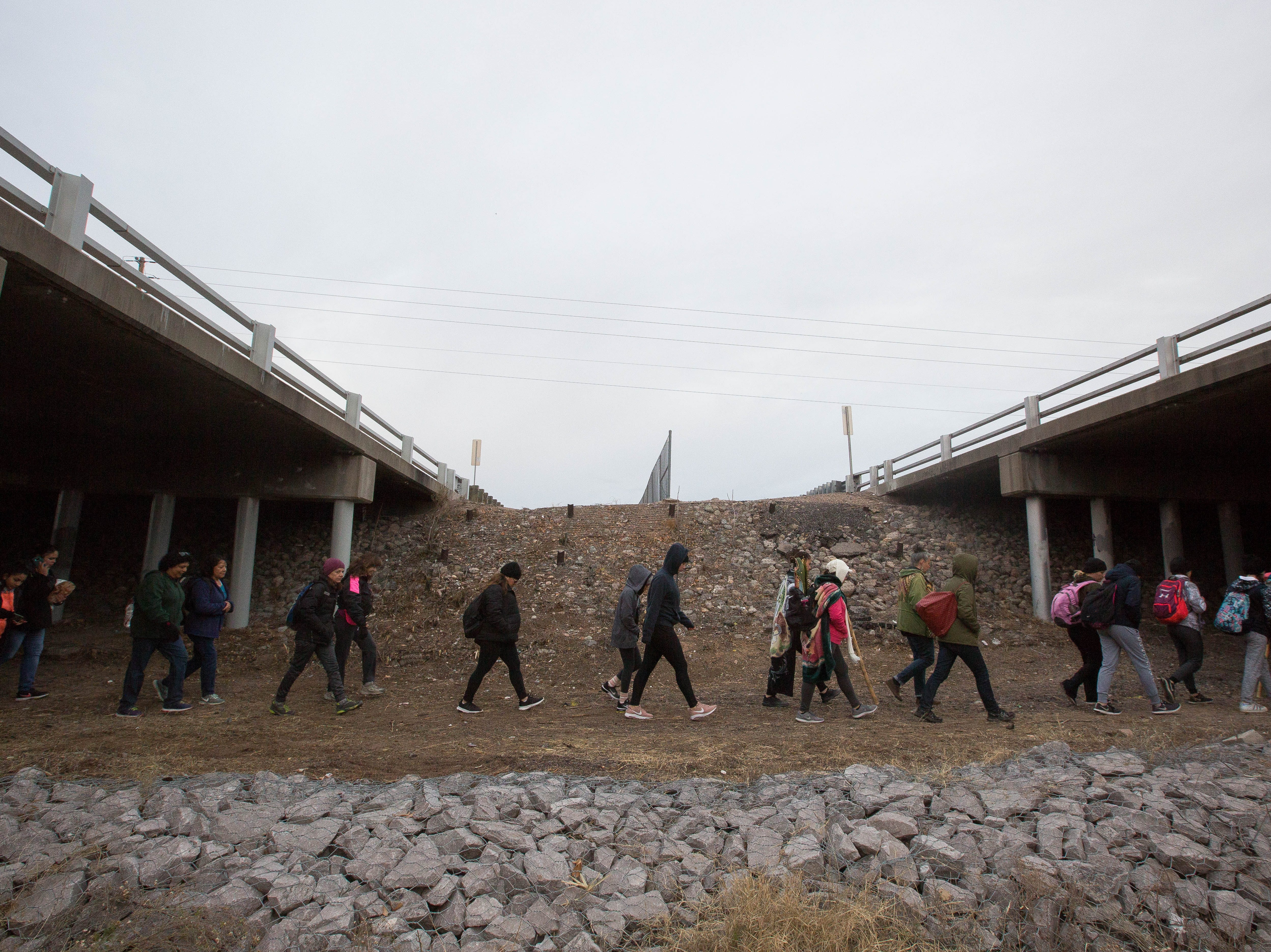 During the second day of the Fiesta of Our Lady of Guadalupe,  a pilgrimage is made from the Tortugas Pueblo to Tortugas Mountain and the route goes under Interstate 25 on Tuesday Dec. 11, 2018. Pilgrims left from the Pueblo at 7 a.m.