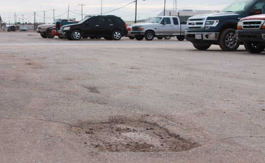 The average pothole is about 2-3 feet square, City Public Works Director Larry Garner said, with more potholes forming during the rainy season.