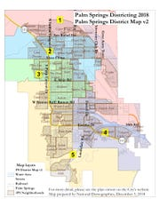 The Palm Springs City Council approved this district map at its Monday meeting.