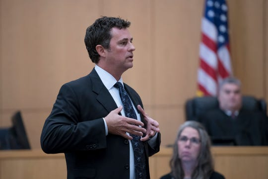 Defense attorney Chris Klotz talks about the plate carrier that James Greenwood was wearing as part of his opening statement during the trial at the Escambia County Courthouse in Pensacola on Tuesday, December 11, 2018.  Greenwood is facing a first-degree premeditated murder charge in the death of his estranged stepfather, Al Jones.