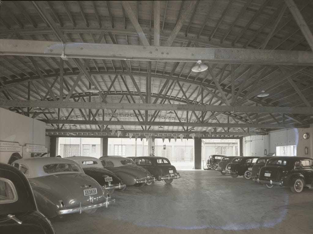 The first parking garage came to downtown Phoenix in November 1957, when George Luhrs decided to build a garage on First Avenue and Madison Street to accommodate the tenants in his various buildings, but also to provide some public parking.