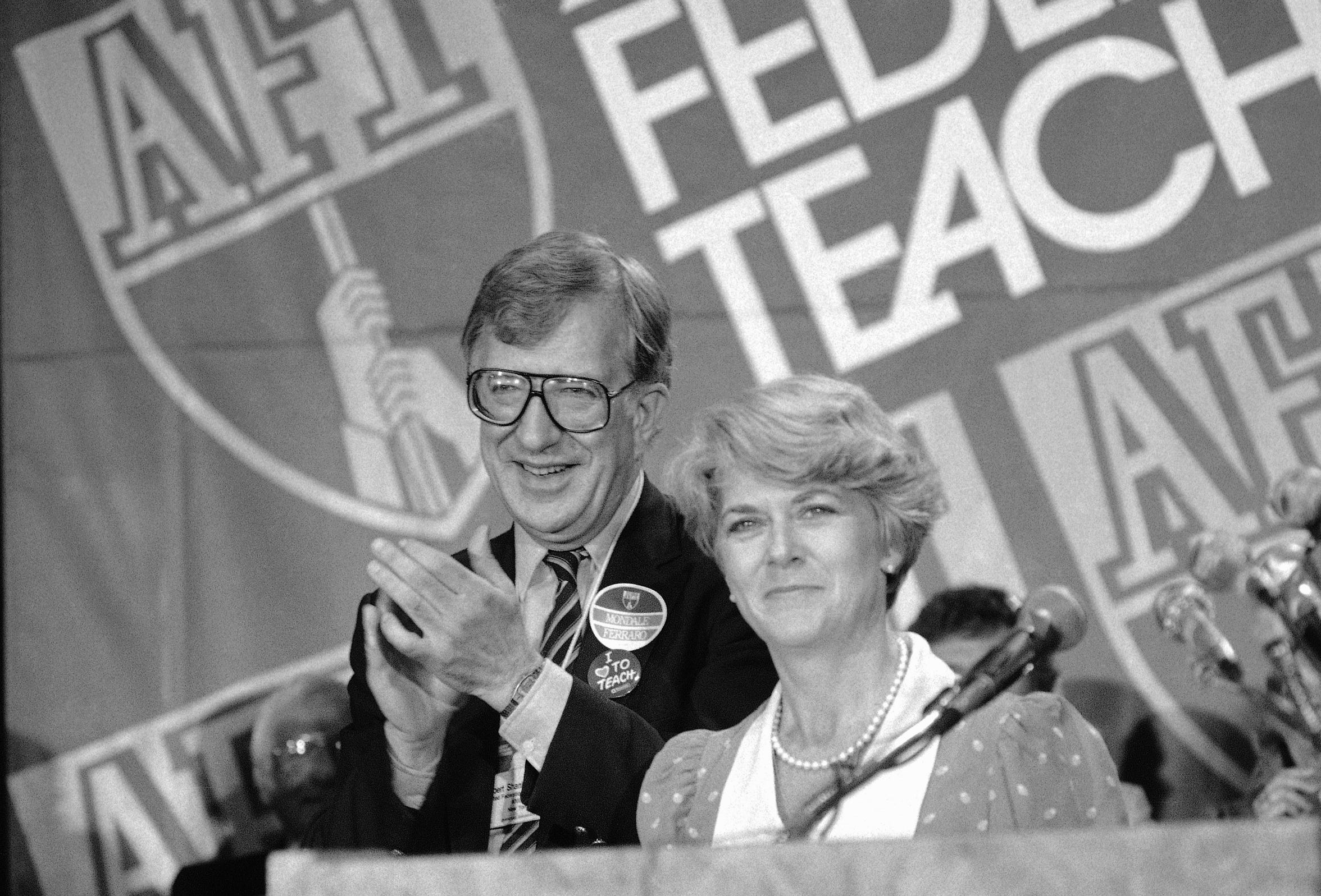 Al Shanker, president of the American Federation of Teachers, appears with Democratic vice presidential nominee Geraldine Ferraro in Washington on Aug. 22, 1984.